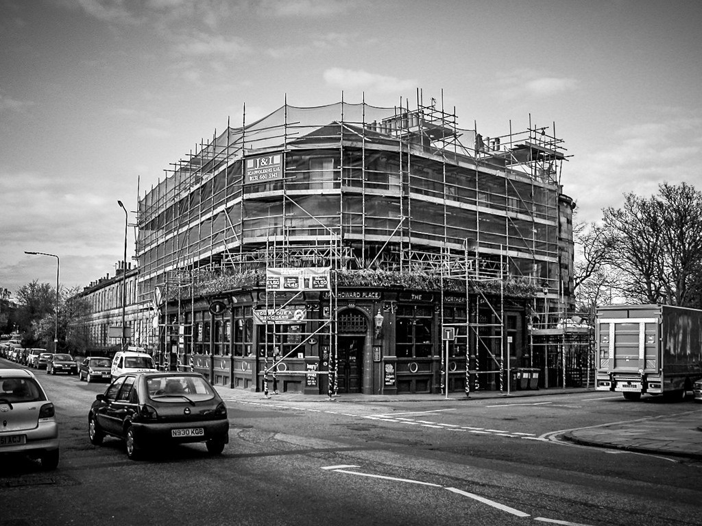 Edinburgh, Scotland<br /> The Northern Bar (now known as 'The Orchard Bar') in full rejuvenation mode. Corner of Howard Place and Inverleith Row.