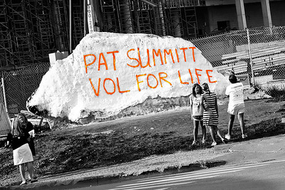 105/365 - April 19, 2012 - Vol for Life   On the day Pat Summitt officially announced her stepping down from the helm of the Lady Vols basketball program, the Rock on campus was painted as a tribute to her. To capture the day, I drove by the Rock on my way home to get this quick shot. Thanks Pat for all you have done for the Tennessee athletics program and the Knoxville community. Godspeed with the battle that lays ahead.