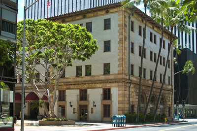 Dillingham Transportation Building, completed in 1929, was designed by Lincoln Rogers' with Italian and Spanish elements for a tropical feeling   from Ala Moana near Aloha Tower
