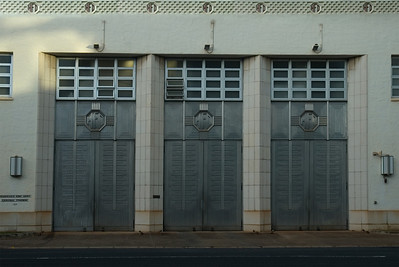 The Central Fire Station on Beretania St has sleek, aluminum Art Deco garage doors -- a story and a half tall -- created by the California Artistic Metal and Wire Company of San Francisco   Honolulu, O'ahu, Hawai'i