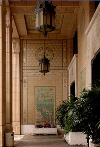 Alexander & Baldwin BuildingTiled walls, ceiling and chandelier in the portico. Dickey and Wood, added a wild melange of Chinese, Hawaiian, Japanese, Italian, Moorish and Tibetan influences. Honolulu, O'ahu, Hawai'i