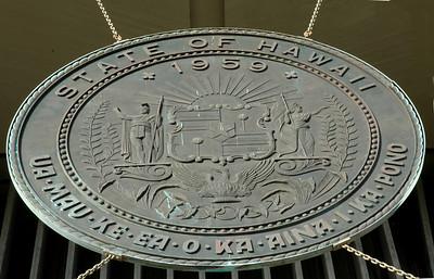 "Hawaii State Capitol Building  The state motto ""Ua mau ke ea o ka aina i ka pono"" means ""The life of the land is perpetuated in righteousness""."