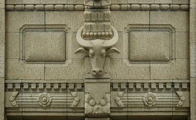 Alexander & Baldwin Buildingmotif honoring the water buffalo which were used like oxen in the pineapple fields Honolulu, O'ahu, Hawai'i