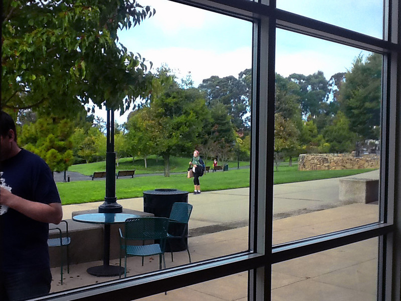 View of Lucasfilm grounds from Starbucks. A theatre adjoins on the right.