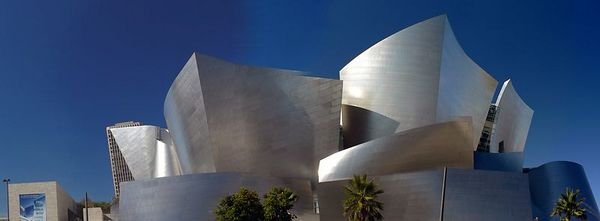The Walt Disney Concert Hall, designed by Frank Gehry, is the home of the L.A Philharmonic. For more information about the building: http://wdch.laphil.com/wdch/home.html This is a somewhat failed attempt at stiching four wide-angle vertical shots into a panorama.