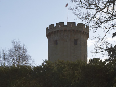 This is the first glimpse of the castle along the footpath.  It's one of the castle's impressive towers (Guy's tower).