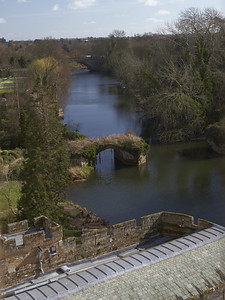 A view out of the window of the castle looks down on the River Avon.
