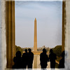 View from inside Lincoln Memorial towards Washington Monument.