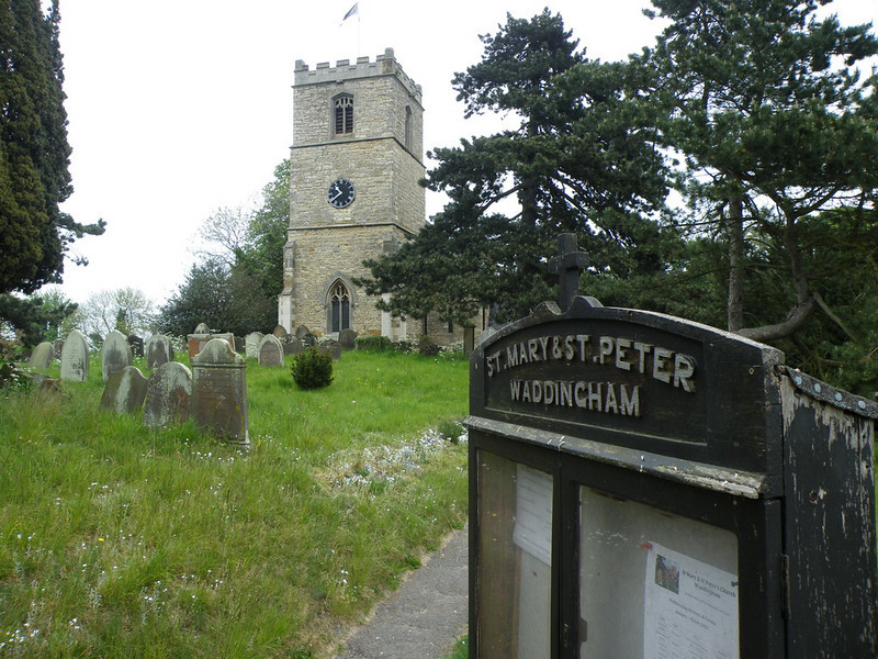 The church of St. Mary & St. Peter, Waddingham, Lincolnshire.<br /> Arriving at the gate there is a wonderful view of the tower and churchyard.