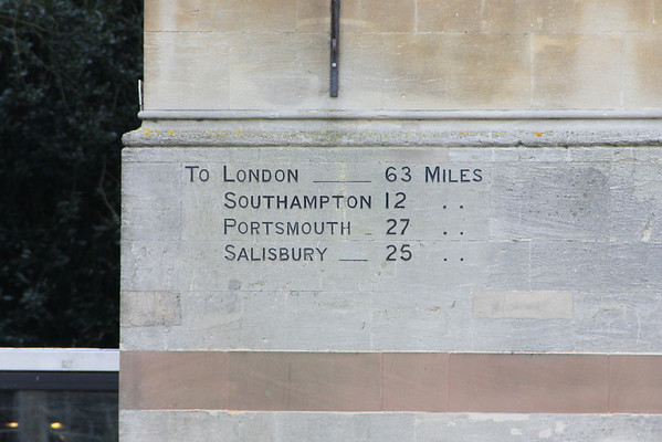 Distance markings on the Guildhall, Winchester<br /> 8 February 2013