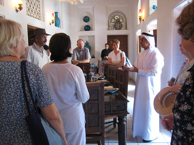 Taken inside the house that was Dr Bastaki's family home, now a popular restaurant.  Dr Bastaki's talking to the Architectural Heritage Society about his childhood in Bastikiya.