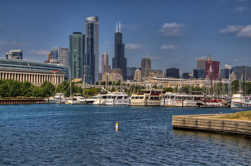 The Chicago skyline with the Willis Tower (Sears Tower) in the distance.