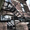 Fire escape on the side of the Hotel Florence in the Historic Pullman District south of downtown Chicago,IL.