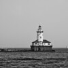 Lighthouse off the shore of Lake Michigan, out from Chicago's Lake Shore Drive.
