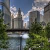 The Wabash Avenue bridge crossing the Chicago River.