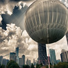 "A big balloon in the foreground and the Chicago skyline in the background during the ""Tall Ships"" event, 2010."