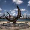"The Bronze sundial sculpture ""Man Enters the Cosmos"" outside of the Adler Planetarium, Chicago, IL."