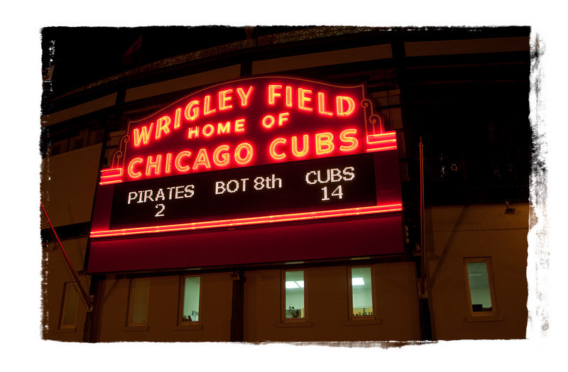 Wrigley Field main entrance.  Cubs  closing in on a win!