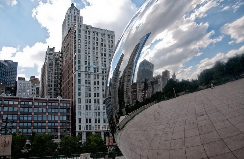 """Cloudgate"" Sculpture by British artist Anish Kapoor in Millenium Park, Chicago, IL."