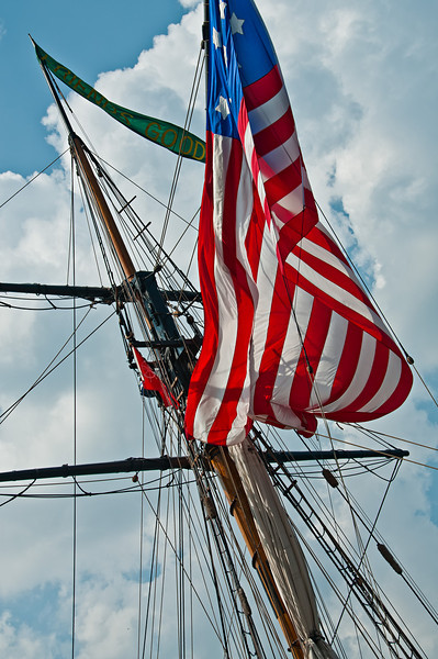 A tall ship flying the American flag while on display at Navy Pier, Chicago, IL.