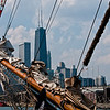 "The ""Tall Ships"" on display at Navy Pier in Chicago, IL. with the John Hancock building looming in the distance."