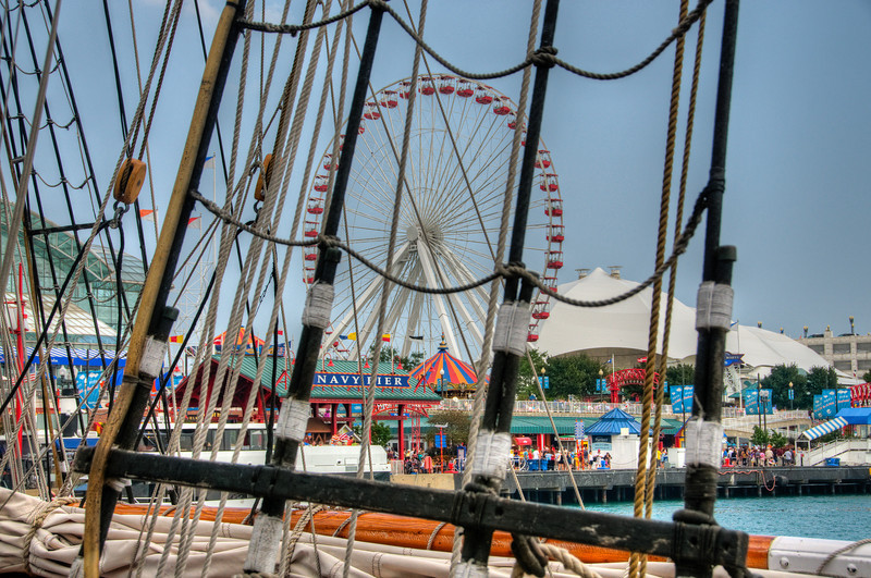 "The ""Tall Ships"" on display along with all the regular attractions on Navy Pier in Chicago, IL."