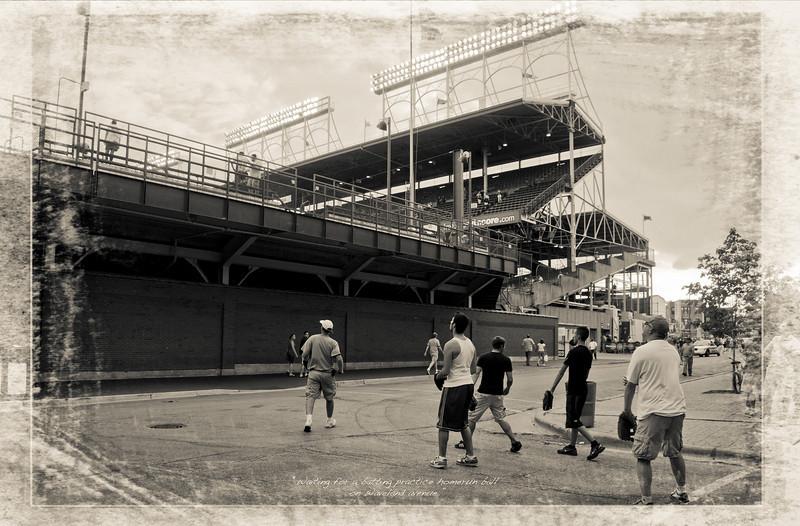Outside Wrigley Field on Waveland Ave. waiting for batting practice homer run balls.