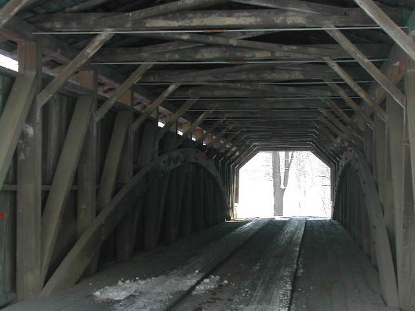 Ramps Bridge:  Winter Views<br /> <br /> Interior Views--- Note the heavy plank flooring  and the Burr truss arches.
