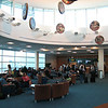 The western-most departure lounge on C-pier features this collection of First Nations drums.