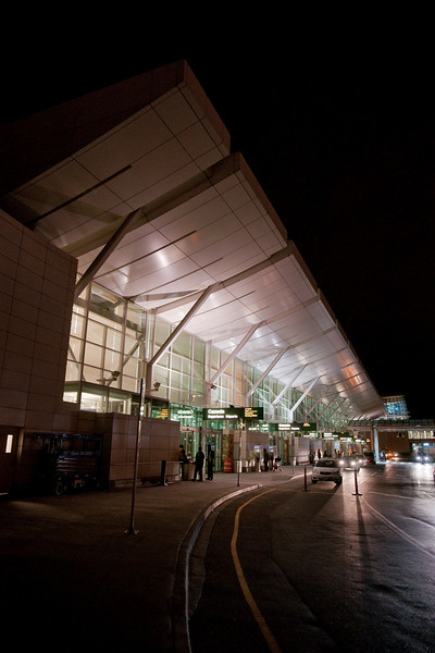 The domestic terminal at night.