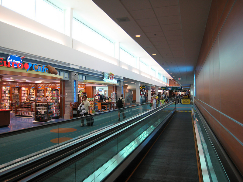 The newly extended C-pier features the first moving sidewalks in YVR's domestic terminal.