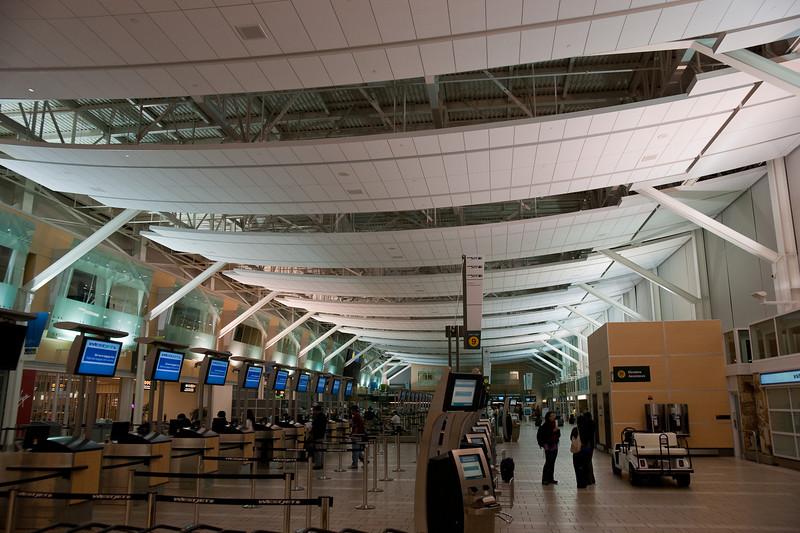 The domestic terminal's check-in area.