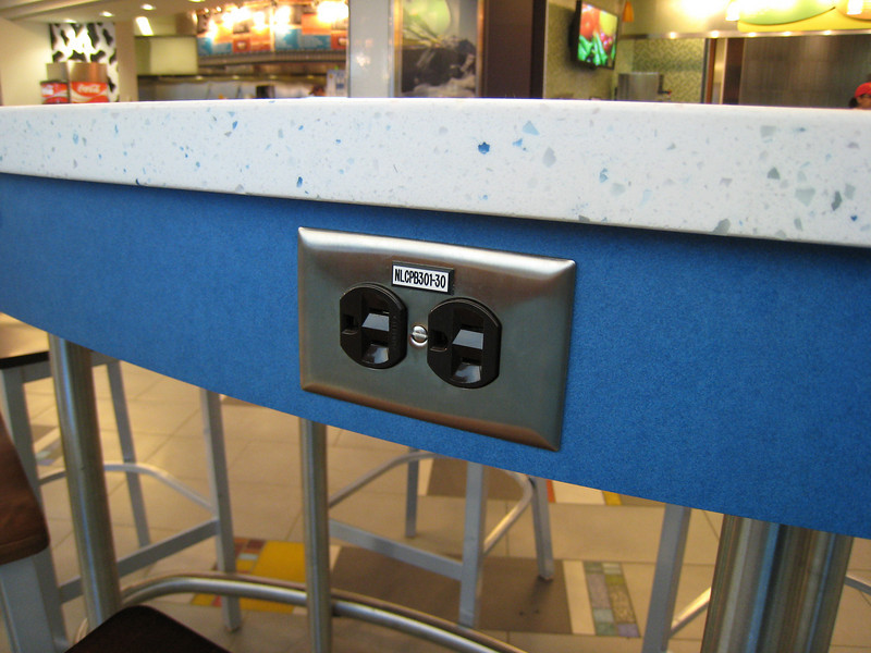 Newer food court furniture at YVR now features electrical outlets for laptop computers.