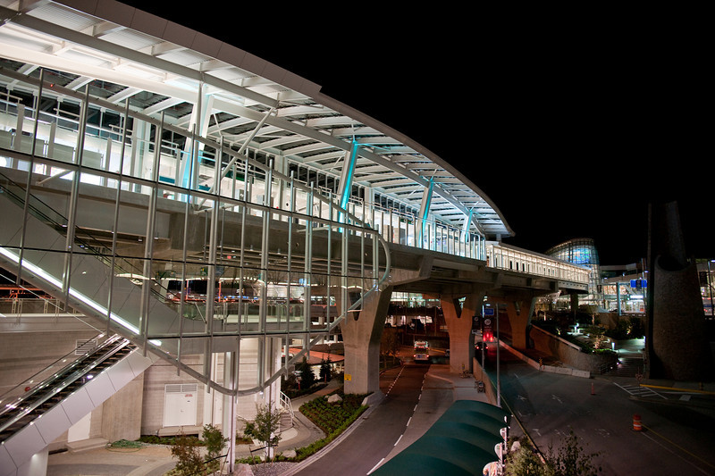 YVR-Airport Station sits between the airport's main parkade and the various access roads to the terminals.