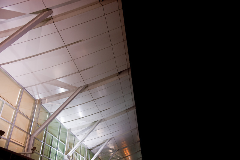 The roof canopy over the drop-off area at the domestic terminal.