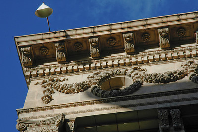 Opened in 1910, this beautiful Renaissance Revival building was originally the Yokohama Specie Bank, but is now office space at the corner of Merchant and Bethel in downtown Honolulu, Oahu, Hawaii  Ornate Details