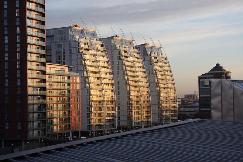 Salford Quays apartments at sunrise