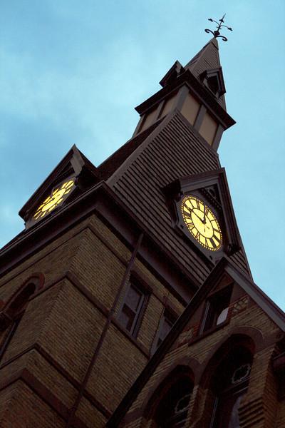 Clock tower at Hamline University in Minneapolis-St. Paul, Minnesota.