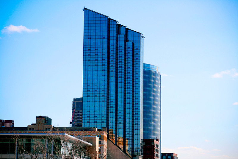 Amway Hotel key in the downtown Grand Rapids, Michigan skyline.