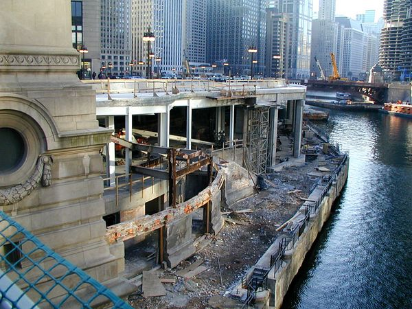 Construction work on Wacker Dr. in Chicago