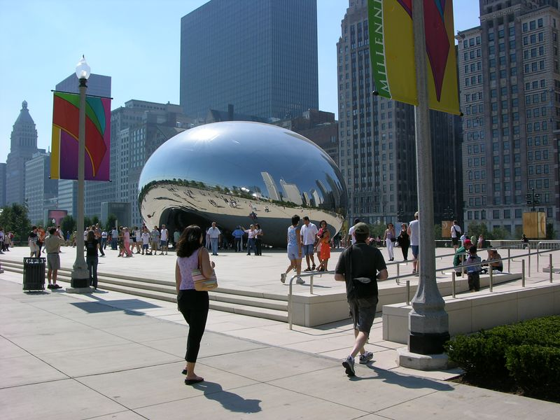 "The ""Bean"" on its plaza"