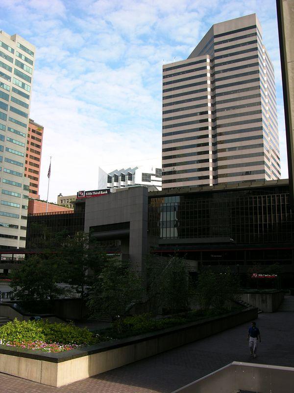 Buildings around Fountain Square in downtown Cincinnati