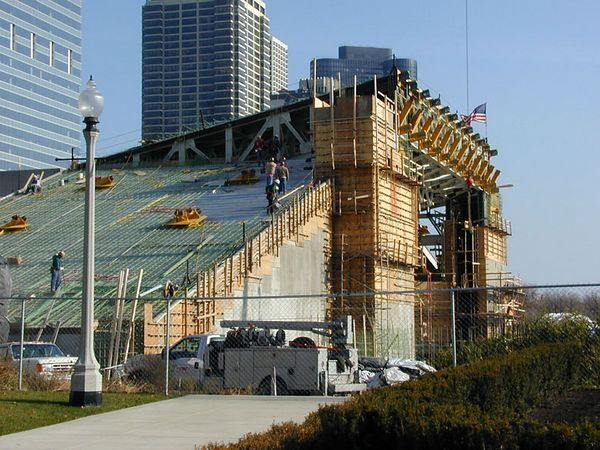 Ghery Music pavilion under contruction in Chicago