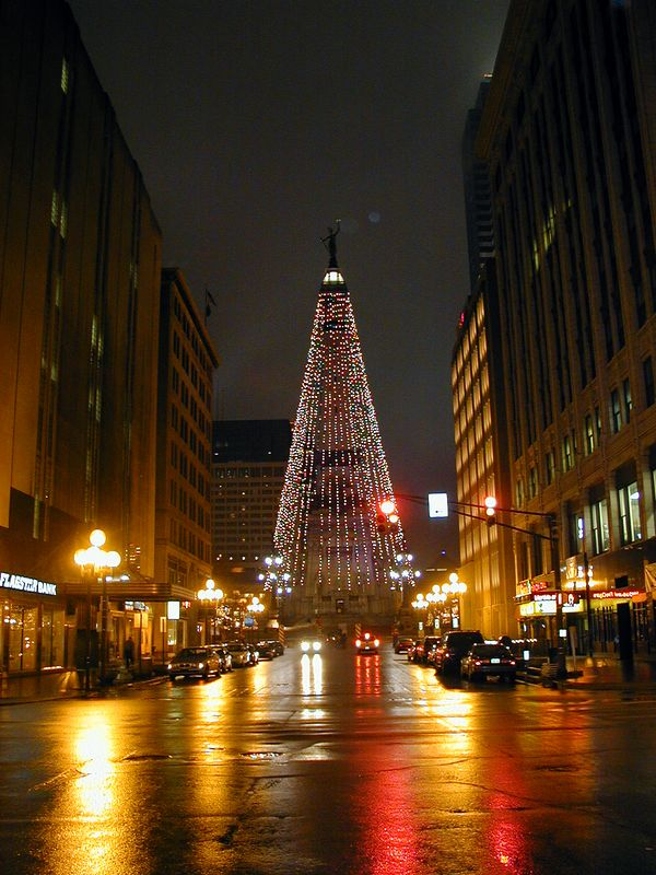 Evening in downtown Indianapolis