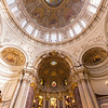 Altar and dome at the Berliner Dom viewed from below