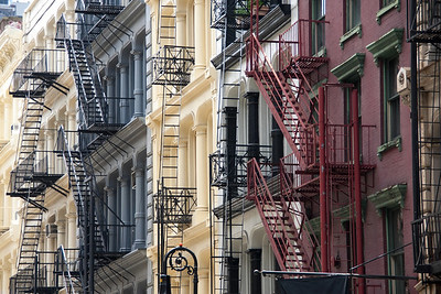 Fire escapes aplenty and some great masonry colours in fashionable Soho, New York