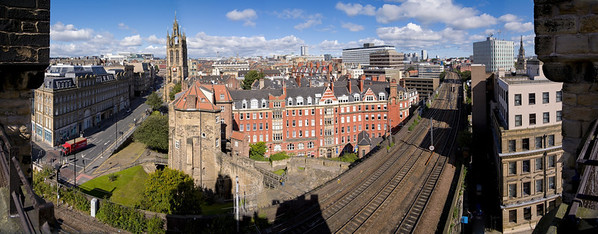 My home city - Newcastle upon Tyne - taken from the top of the 'new  castle' keep........new that is if you were around when the first sections of the castle were in existence - from 1080 A.D. or during Henry II's reign c.1168-78 A.D when the keep itself and the curtain wall including a bailey gate were added.  Used as the principal image for the http://www.newcastlecastle.co.uk/ website following years of work to renovate the Keep and Black Gate to form the 'Gateway to old Newcastle'