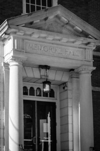 Memorial Hall Library, main entrance, mono