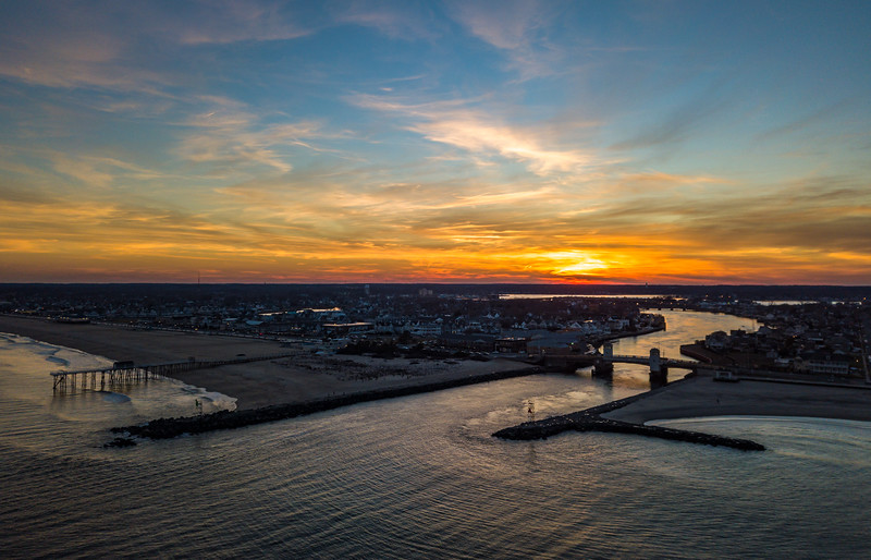 Fiery Sunset Over Belmar and Shark River Inlet 2/18/18