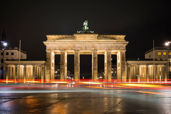 Lit Brandenburg Gate in Berlin at night